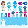 Puppe aus Papier mit einer Reihe von Winterkleidung