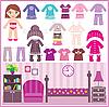 ID 3167625 | Puppe aus Papier mit Kleidung und Raum | Stock Vektorgrafik | CLIPARTO