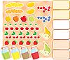 Scrapbook-Elemente mit Obst und Marmelade