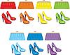 Женские сумки и обувь. Цвета радуги | Векторный клипарт