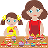 Mother with the daughter bake cupcakes | Stock Vector Graphics