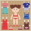 Бумажная кукла с одеждой | Векторный клипарт