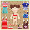 Papier-Puppe mit Kleidung | Stock Vektrografik