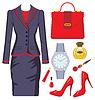 Moda zestaw żeński garnitur, akcesoriów i kosmetyków | Stock Vector Graphics