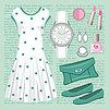 Moda ustawić w pastelowych kolorach z sukni | Stock Vector Graphics