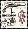 Ancient pistol on post stamp | Stock Illustration