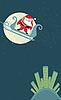 圣诞贺卡。圣诞老人的跳伞 | 向量插图