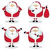 圣诞老人在不同的位置 | 向量插图