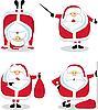 Санта Клаус в различных положениях | Векторный клипарт