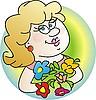 Mujer con flores | Ilustración vectorial