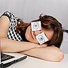 ID 3144345 | Woman sleeps in the office during working hours | Foto stockowe wysokiej rozdzielczości | KLIPARTO