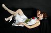 ID 3145751   Attraktive Frau im weißen Kleid liegend auf schwarzem Sofa   Foto mit hoher Auflösung   CLIPARTO