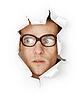 ID 3146444 | Zabawny człowiek w staroświeckim szklanki w otworze | Foto stockowe wysokiej rozdzielczości | KLIPARTO