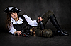 Girl - pirate with pistol and bottle | Stock Foto
