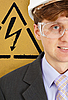 안전 엔지니어 및 경고 기호 | Stock Foto