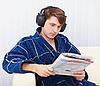 Статусы, приколы и разная чушь )) интересная по возможности )) - Страница 2 3159763-man-in-big-ear-phones-on-sofa-reads-newspaper
