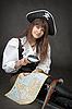 ID 3160484 | Piraten-Mädchen mit Meer-Karte auf schwarz Set | Foto mit hoher Auflösung | CLIPARTO