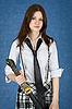 美丽的女孩与日本刀 | 免版税照片