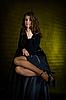 블랙에서 아름 다운 여자 | Stock Foto