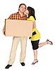 ID 3161319 | Mädchen küsst den Kerl holding box | Foto mit hoher Auflösung | CLIPARTO