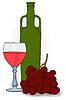 Zeichnung - Flasche und Glas Wein und Trauben
