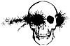 Monochrom-Grunge - Kugel durch den menschlichen Schädel
