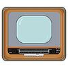 Vektor Cliparts: alter Fernseher in der Holzkiste