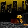 Katze an der Nachtstraße