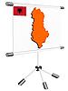 Display mit Silhouette Karte von Albanien