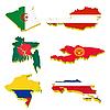 Auffangvolumen Karten von Algerien, Österreich, Bangladesch, K