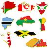 Auffangvolumen Karten von Belarus, Kanada, Burundi, Burki