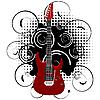 Gitarre auf abstraktem Grunge-Hintergrund