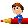 Kleiner Junge mit Bleistift.