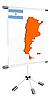 Display mit Silhouette Karte von Argentinien