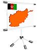 Display mit Silhouette Karte von Afghanistan