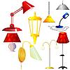 S Sammlung von Lampen