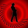 Красный дизайн с девушкой в шляпе | Векторный клипарт
