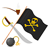 Collection of pirate attributes | Stock Vector Graphics