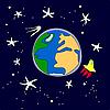 die Erde mit der Rakete und der Satellit