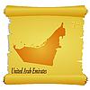 Pergament mit Silhouette der Vereinigten Arabischen Emirate