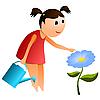 Mädchen mit Gießkanne und Blume.