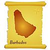 Pergament mit Kontur von Barbados