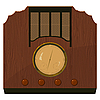 An old radio in wooden case | Stock Vector Graphics