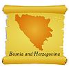 Pergament mit Silhouette von Bosnien und Herzegowina