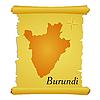 Pergament mit Silhouette von Burundi