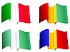 Nationalflaggen Guinea, Rumänien, Nigeria, Italien