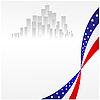 eine amerikanische Flagge und die Stadt