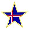 Gold-Star mit Flagge von Island