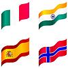 Set von Flaggen von Spanien, Italien, Norwegen, Indien