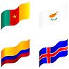 Gruppe von Flags, von Kamerun, Zypern, Kolumbien, Island